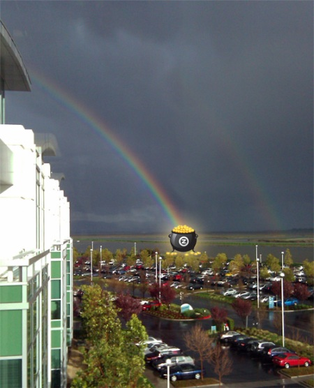 Rainbow spotted outside Zazzle office in time for St. Patrick's Day.