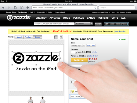 Zazzle on the iPad