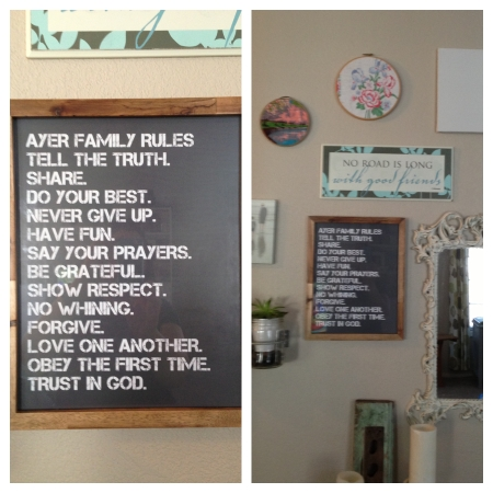 I love my new family rules sign! It's the perfect addition to my gallery wall. Thank you SignsByAndrea.