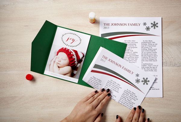 #zazzle DIY Holiday Card Family Newsletter with Envelopments Pocket Fold