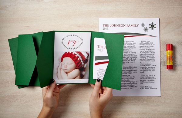 #zazzle DIY Holiday Card Family Newsletter with Envelopments Pocket Fold