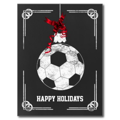 chalkboard_soccer_player_christmas_cards_postcard