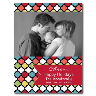 colorful_quatrefoil_photo_holiday_postcards