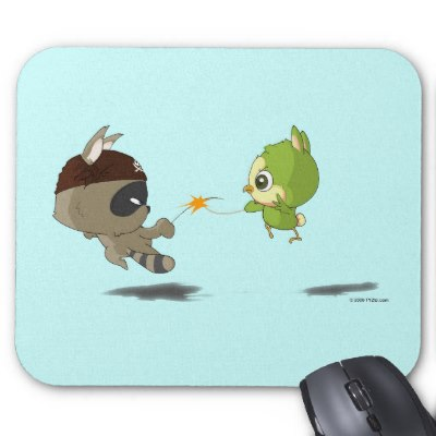 cute_raccoon_bird_fencing_cartoon_anime_mousepad