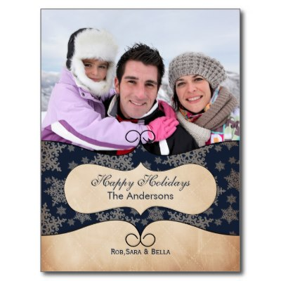 rustic_blue_snowflakes_photo_holiday_cards_postcard