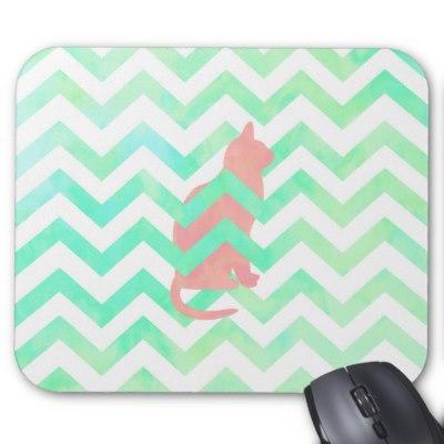 coral_pink_kitten_cat_turquoise_chevron_pattern_mousepad