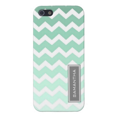 i_phone_5_mint_chevron_ombre_custom_name_iphone_case