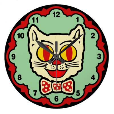 vintage_cat_design_wall_clock