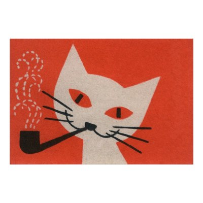 white_cat_smoking_a_pipe_vintage_poster