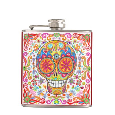 colorful_sugar_skull_flask_day_of_the_dead_art